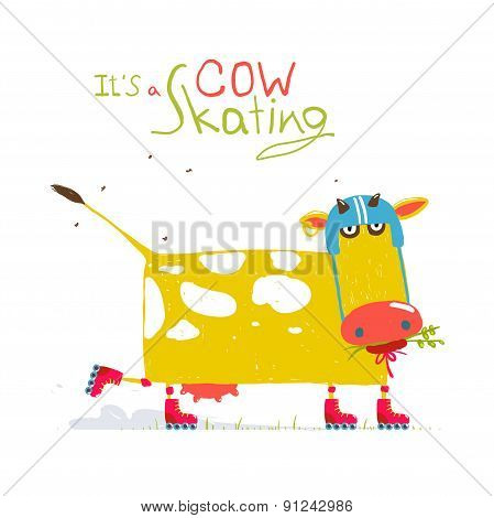 Colorful Fun Cartoon Roller Skating Cow Wearing Helmet for Kids