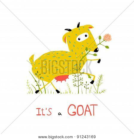 Childish Colorful Fun Cartoon Goat Eating Flower