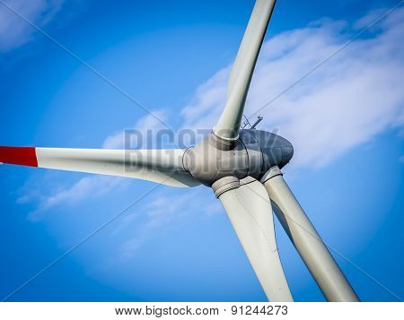 wind generator turbine in sky - close up