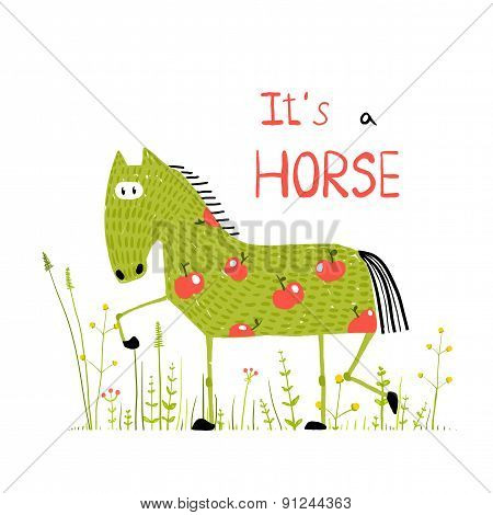 Childish Colorful Fun Cartoon Horse in Grass Field