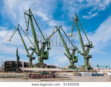 Shipyard Cranes In Gdansk, Poland