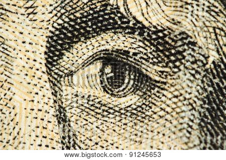 Eye On A Banknote Of Dollar Usa, Macro