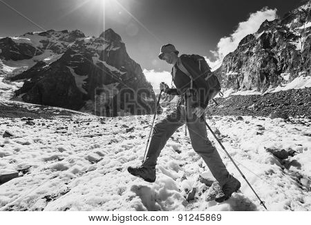 Backpacker in Caucasus mountains,Ushba region
