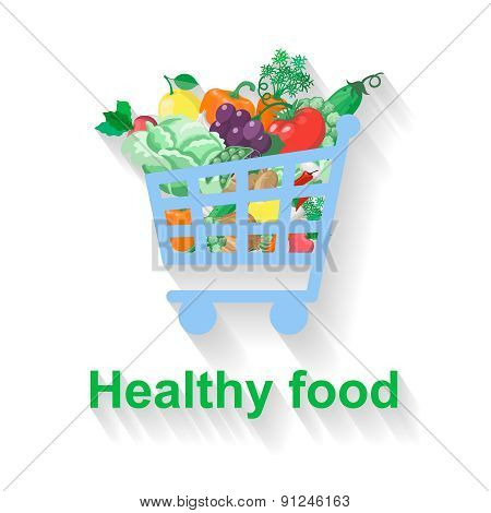 Shopping basket with healthy food.