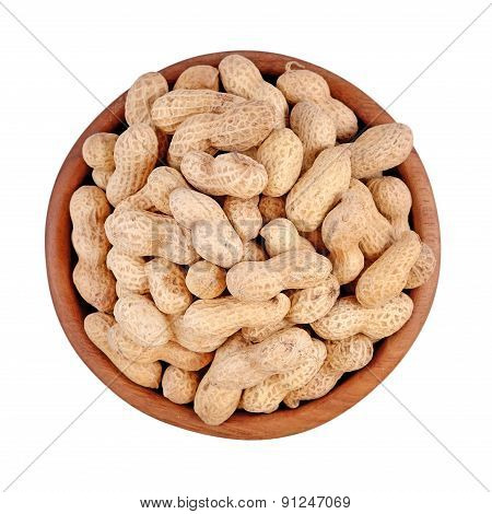 Peanuts In A Wooden Bowl On A White Background