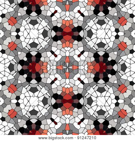 Kaleidoscopic Mosaic Red-black-white Tile Pattern Made Seamless