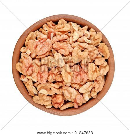 Peeled Walnuts In A Wooden Bowl On A White Background