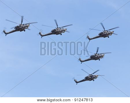 Mi-28Ne Helicopters Flying Formation
