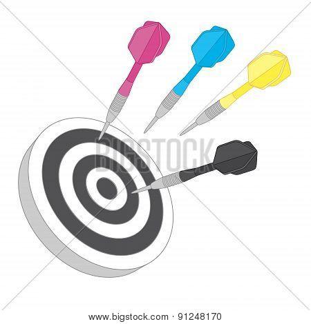 Cmyk target. Flat icon