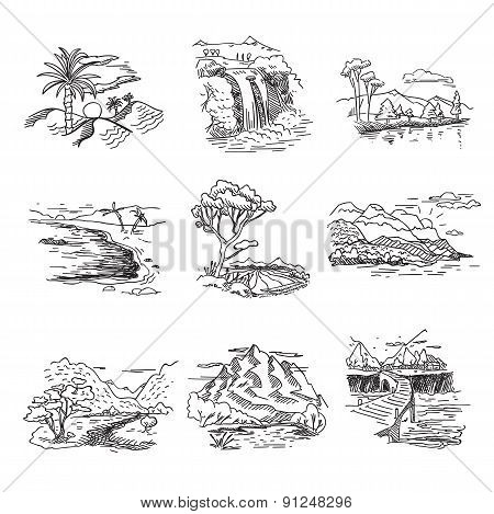 Hand drawn rough draft doodle sketch nature landscape illustration with sun hills sea forest waterfa
