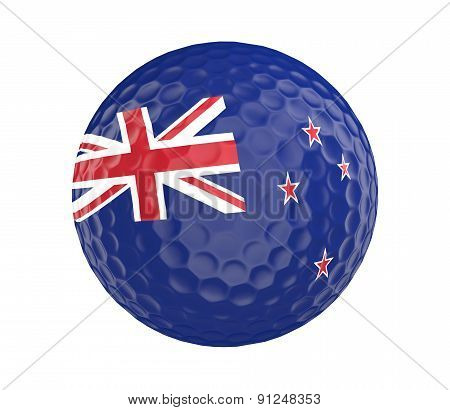 Golf ball 3D render with flag of New Zealand, isolated on white