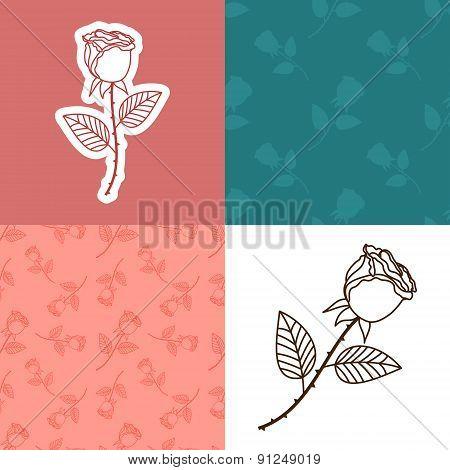Seamless cute rose set