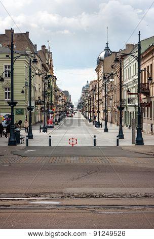 Lodz, Piotrkowska Main Shopping Street