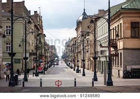 Piotrkowska Street, Liberty Square. Lodz, Poland