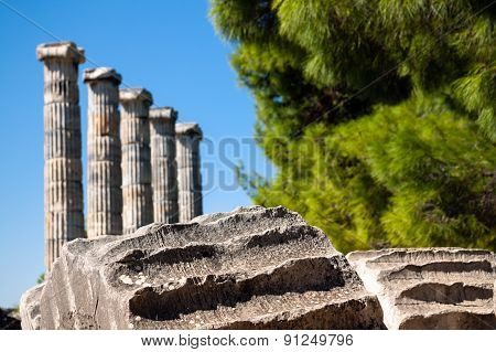 Ancient Temple Of Athena In Priene, Turkey