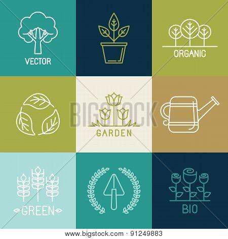 Vector Gardening Logo Design Elements