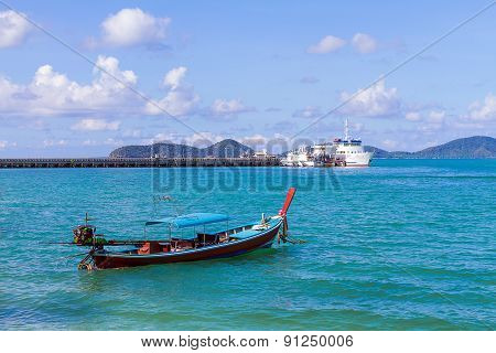 Traditional thai longtail boat, in Phuket Thailand