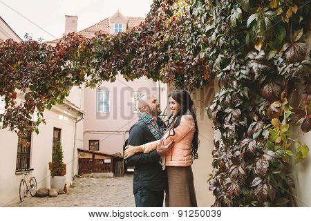 Young Woman Hugs Her Boyfriend In The City