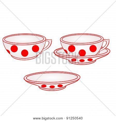 Cup With Saucer With Red Dots Vector