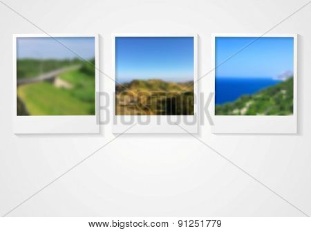 Photo frames with nature landscapes. Vector abstract background