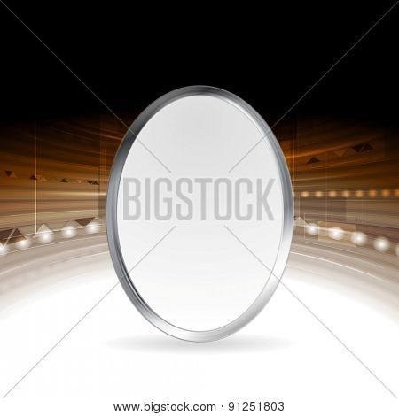 Tech abstract background with metallic ellipse. Vector design