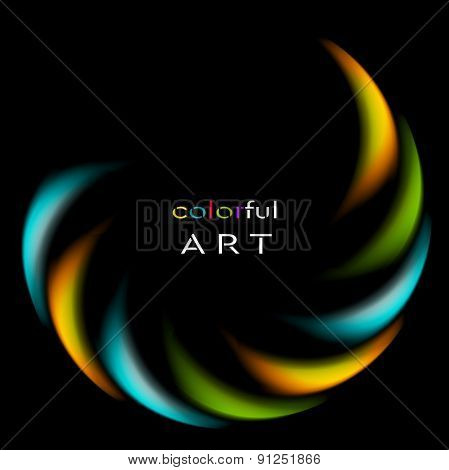 Colorful iridescent round logo on black background. Vector art design