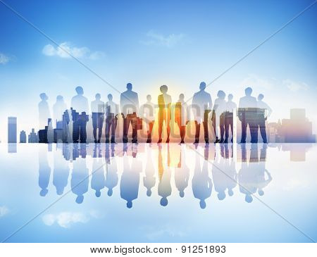 Back Lit Business People Corporate Cityscape Togetherness Concept