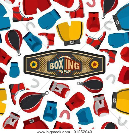 Boxing Seamless Pattern, sports background. Boxing equipment: gloves and helmet. Vector illustration