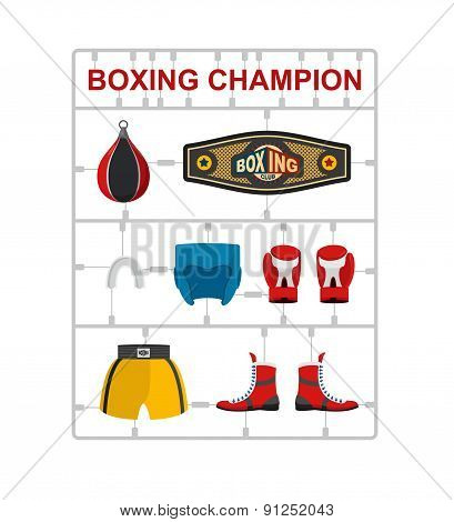 Boxing champion Plastic model kits. Vector illustration