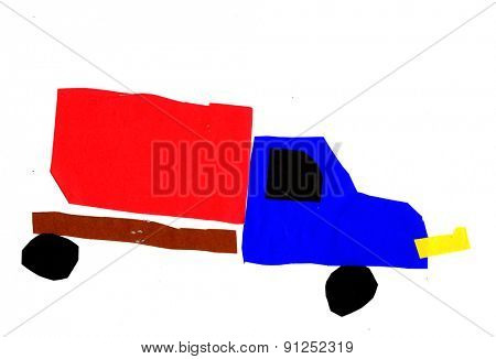 Kid's drawing - truck- made by child
