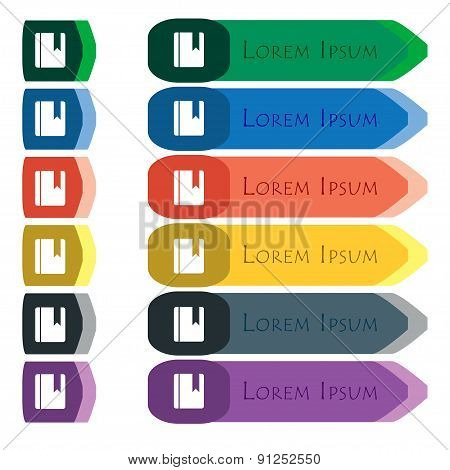 Book Bookmark  Icon Sign. Set Of Colorful, Bright Long Buttons With Additional Small Modules. Flat D