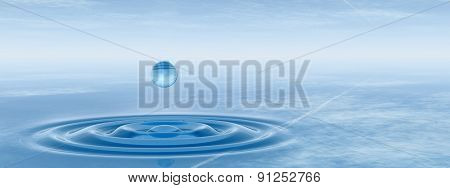 Concept or conceptual blue liquid drop falling in water with ripples and waves background banner