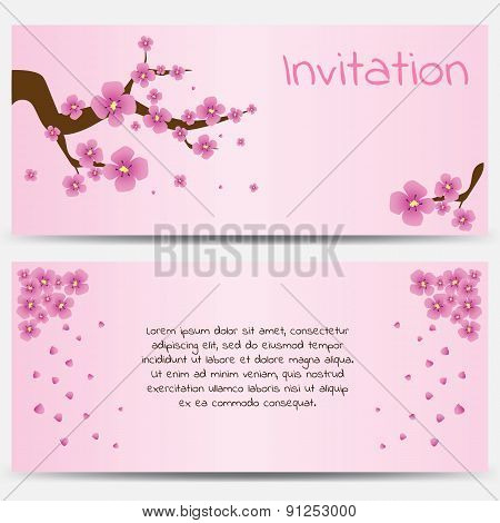 Invitation Design Template Blooming Sakura on Pink Background.