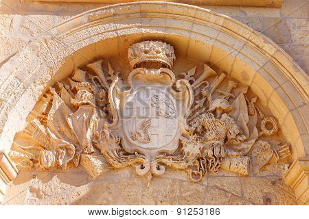 Coat Of Arms Above Entry In Ancient Part Of Mdina, Old Capital Of Malta. Crown, Lion, Crosses.