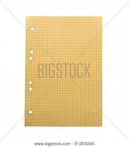 yellow sheet of paper from a notebook into a cell