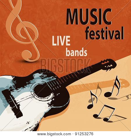 Music background with retro guitar - rock festival
