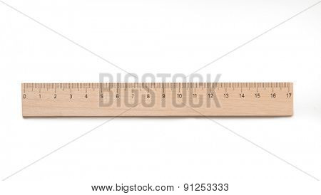 Ruler wooden isolated on a white background