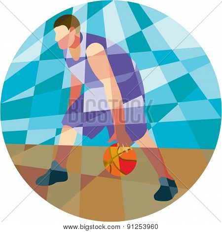 Basketball Player Dribbling Ball Circle Low Polygon