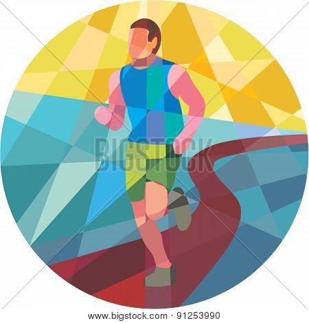 Marathon Runner In Action Circle Low Polygon