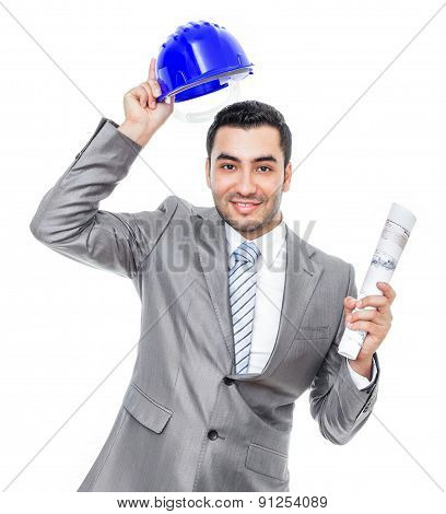 Portrait Of Businessman Or Engineer With Helmet, Isolated On White