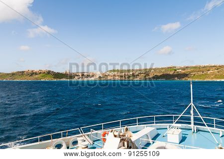 Sailing To Port Of Mgarr On The Small Island Of Gozo, Malta.