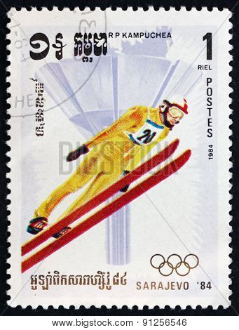 Postage Stamp Cambodia 1984 Ski Jumping, Winter Sport