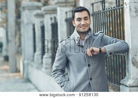 Young Attractive Man Posing, Outdoor - Outsides. Good Looking Turkish Guy