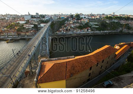 PORTO, PORTUGAL - MAY 14, 2015: Top View of Douro river at center of Porto. In 1996, UNESCO recognised Old Town of Porto as a World Heritage Site.