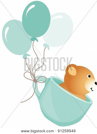 TeddyTeddy bear flying in blue cup with balloons