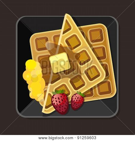 waffle with syrup butter strawberry plate