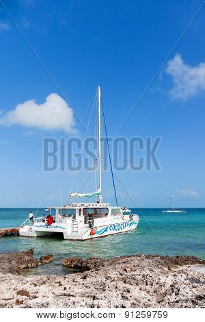 Cuba - February 04. 2008. catamaran On Pier At The Rocky Island.