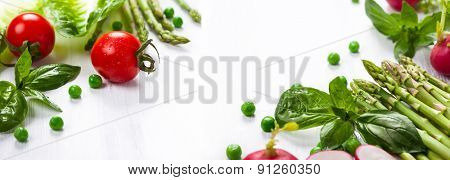 Fresh vegetables on the white wooden table