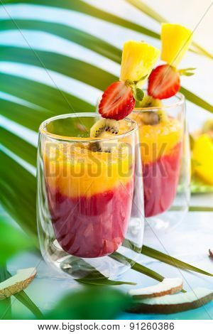 Two glasses of exotic fruit smoothie
