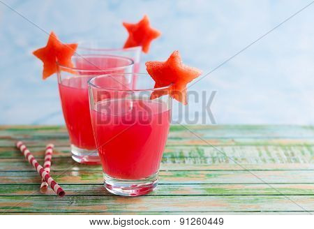 Watermelon drink in glasses with slices of watermelon in star shape